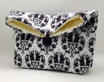 Foldover clutch, Fold over bag, clutch purse, evening clutch, wedding purse, bridesmaid gifts - Damask on gray (Ref. FC61 )