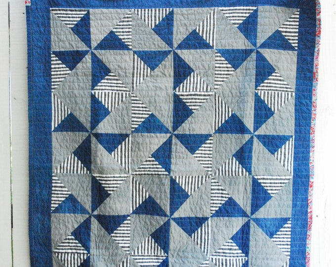 """Pinwheel Quilt, Organic Quilt, Wall Hanging, Hand-Dyed Indigo and Grey Quilt 40"""" x 52"""""""