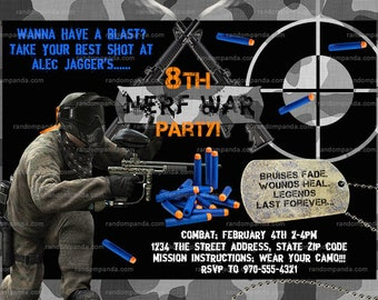 Nerf War Invitation, Guns Combat and Camo, Nerf Party invite