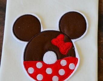 Miss Mouse Doughnut applique shirt, summer, custom clothing, applique, embroidery, characters, boys and girls clothing, Christmas