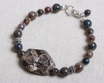 Rustic Turritella Agate and Pietersite Rustic Bracelet  - Fossil Stone