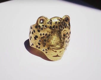 Leopard Ring / Gold plated silver / Black oxide patina