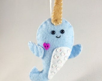 felt narwhal christmas ornament personalized ornament christmas gift narwhal gift felt
