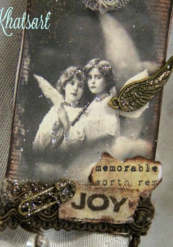 ANGELS ATC ACEO Artist Trading Card Original Art Card Religious Gift Mixed Media ELITE4u