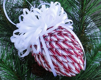 Fabric Pinecone Ornament - Red Ticking with White Satin Bow - Christmas Ornament, Stocking Stuffer, Co-Worker Gift, Ornament Exchange