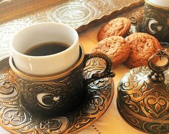 PRICE REDUCTION*** Eleven Piece Brass Turkish Coffee Set
