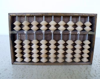 "Abacus 8"" Wood Chinese Counter Asian Calculator Japan"