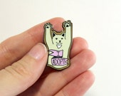 Cat adoption pin - adopt don't shop - cat pin hard enamel