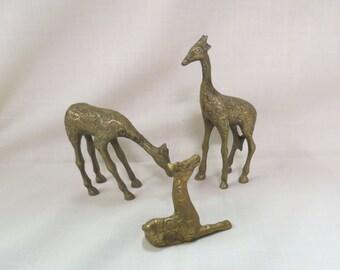 Vintage Solid Brass Giraffes India Brass