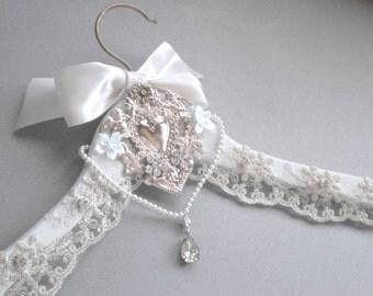Bridal Hanger French Lace. Blessing Cherub Angel Milagro Keepsake GIFT. Mexico Ex Voto. Bridal Shower GIFT Mother Daughter