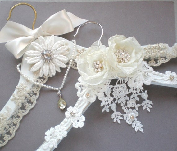 White Wedding Dress Hanger: Elegant French Bridal Hanger. Bridal Keepsake GIFT. Two