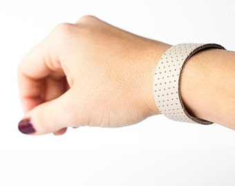 Leather Bracelet / Slim Cuff / Natural Perforated