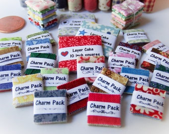 Miniature Charm Packs 1:12 scale, Miniature Fabric Squares One inch scale