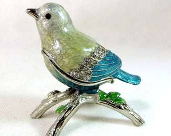 Vintage Ring-Holder Bird, Chrome & Enamel Jewelled Crystal Hinged Proposal Box, Figural Bird on a Branch Trinket Jewellery Box