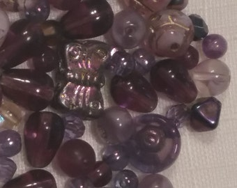 BUTTERFLIES mix Czech glass Beads 7x12mm purples (100pcs)