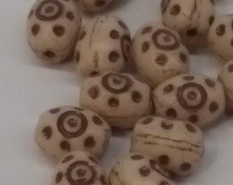 Vintage Glass Beads. 1970s Oval bone cream.brown PRESSEd  (8) 6x8mm