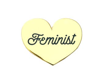 Feminist Heart Pin - Gold