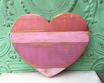 Small Pallet Wood Heart Hanger, Shades of Pink Pallet Heart, Home Decor Wooden Heart Hanger