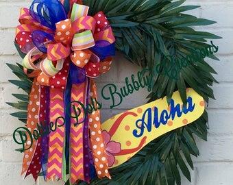 Luau Wreath, Tropical Wreath, Beach Wreath, Greenery Wreath, Aloha Wreath, Hawaiian Wreath