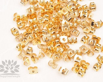 A345-G// Gold Plated Metal Brass Earring Stoppers, Earring Backs, Earring nuts 50pcs