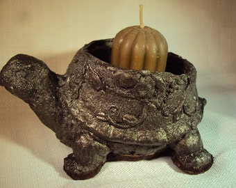 Turtle, Bronze Finished Stone Candle Holder, Change Holder