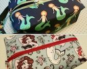 Mermaid Bag - Make up Cosmetic Pouch - Nautical bag - Anchor - Toiletry Bag-  Pinups - Pinup Mermaid - Octopus - Seahorse