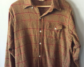 Vintage 1970's Woolrich Plaid Rustic Flannel Button Down Long Sleeve Shirt, Size XL