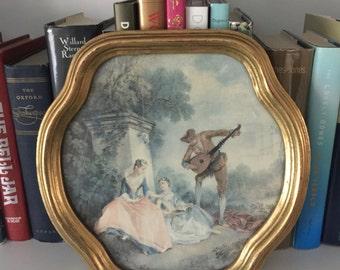 Vintage Italian Florentine gold framed print