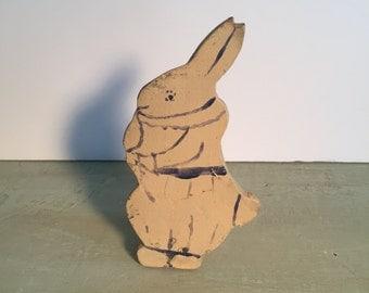 1930s primitive handmade wooden bunny rabbit doorstop/folk art doorstop