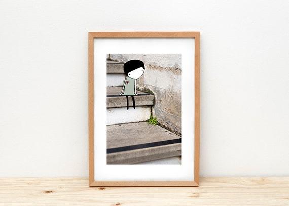 Girl on stairs art print, illustration by depeapa, heart, little girl illustration, portrait wall art, A4, kids wall decor