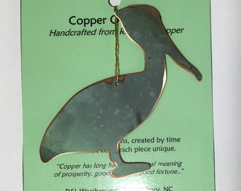 Pelican Ornament - Handcrafted out of Recycled Copper