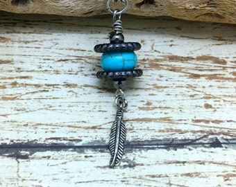 Turquoise  Drop Pendant   Turquoise and Feather  Pendant  Layering Pendant  Boho Jewelry  item 865