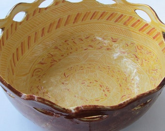 ceramic bowl; ceramics and pottery bowl' hand painted bowl