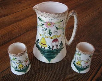 Vintage Hand Painted Ceramic Pitcher & 2 Cups Peasant Couple Made in Japan 1940s