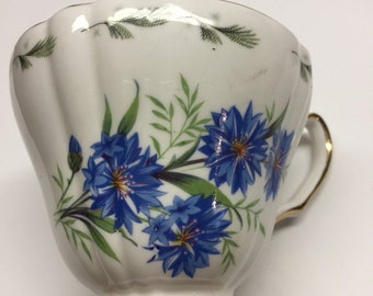 Royal Vale Bone China Cup Blue Asters