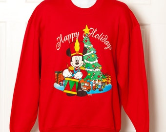 Vintage MICKEY MOUSE Happy Holidays Sweatshirt - L