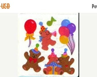 SALE Vintage Sandylion Pearl Finish Bear Birthday Party Stickers 80's Opal