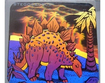 SALE Rare Vintage Hologram Dinosaur Sticker Holographic Stegosaurus