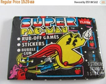 SALE Vintage 1982 Super Pac-Man Stickers Scratch Offs - Video Game 80's Retro Rare Fleer Pack Pacman Arcade Cartoon Stocking Stuffer