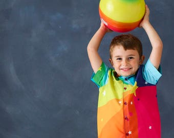 boys rainbow party shirt