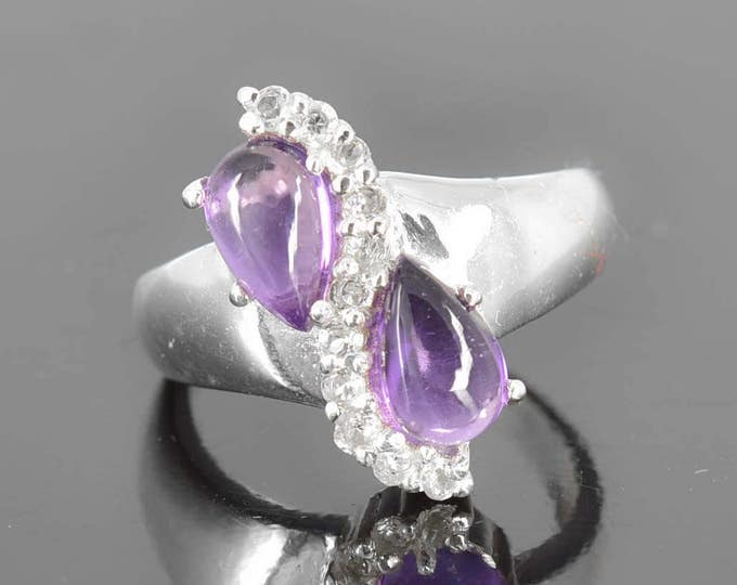 Amethyst ring, sterling silver ring, pear purple gemstone ring, february birthstone ring