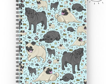 Pug Notebook, Pug Designs, Pug, Pugs, Pug Pattern, Cute Pug Gifts, For Pug Owners, Puppy Journal, Pug Dogs, Cute Pugs, Pug Owners
