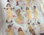 VINTAGE KITCH TOWEL, kitchen tea towel, naked ladies, cartoon, maidens, mancave display