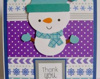 "Value Priced *** Snowman ""thank you"" note card"