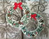 Set of Two 5.5 Inch Christmas Bottle Brush Wreaths - BottleBrush Wreath