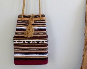 Vintage Peruvian Handbag, Aztec Pattern Box Bag, Red Brown Stripes Handbag, Woman Shoulder Bag, Crossbody Wool Bag, Ethnic Everyday Handbag