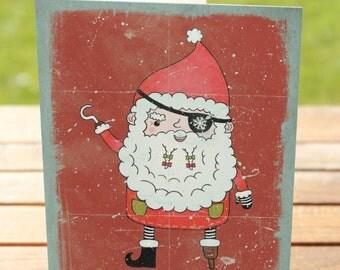Pirate Christmas Card   Yo Ho Ho Ho Santa Holiday Greetings   A7 5x7 Folded - Blank Inside - Wholesale Available