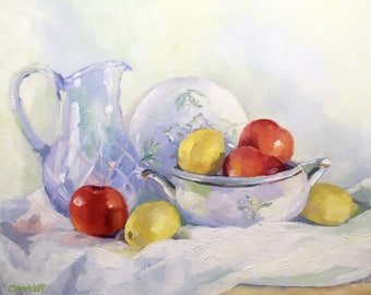 Melody of Light Still Life Oil Painting on Panel with Lemons, Apples and Glass