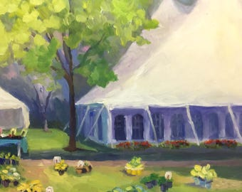 Tents and Flowers Impressionist Landscape Oil Painting on Canvas