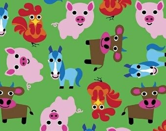 Farm Animals Allover on Green from Windham Fabric's Farm Collection by French Bull
